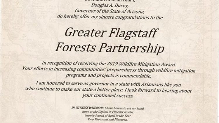 Governor Ducey sends an Official Commendation in Recognition of GFFP's 2019 Wildfire Mitigation Award