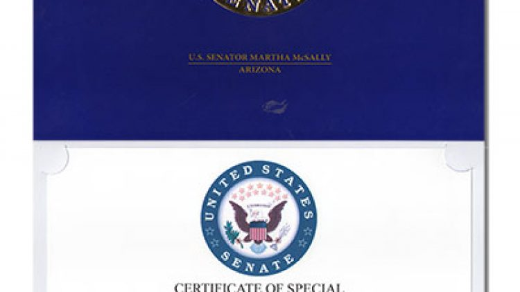 GFFP Receives Certificate of Special Congressional Recognition